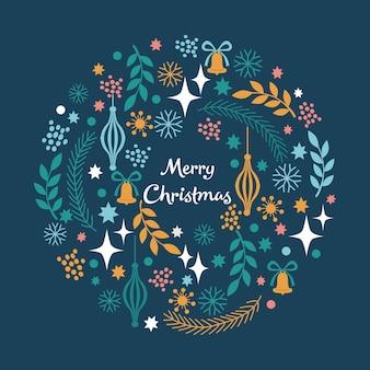 Веселого рождества венок со снежинками оставляет звезды на синем фоне векторные иллюстрации