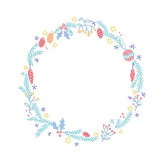 С рождеством венок. рождественский фон с круглой рамкой с элементами праздника