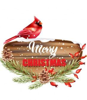 木製の部分に書かれたメリークリスマス