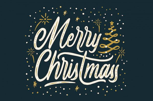 Merry christmass handlettering typography display artwork