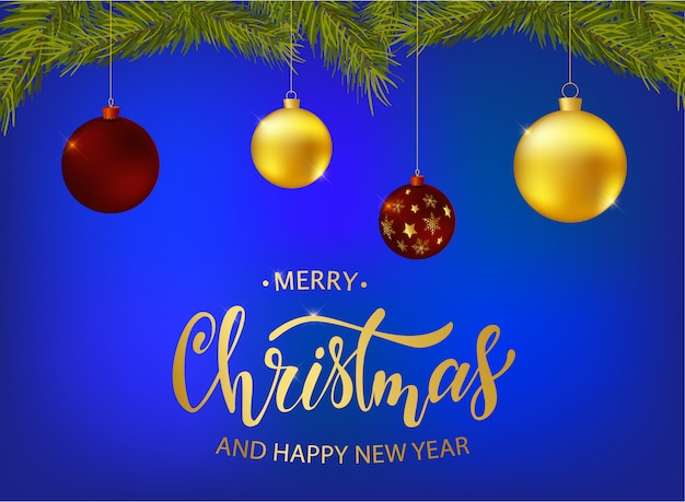 Merry chrsitmas and happy new year greeting card design