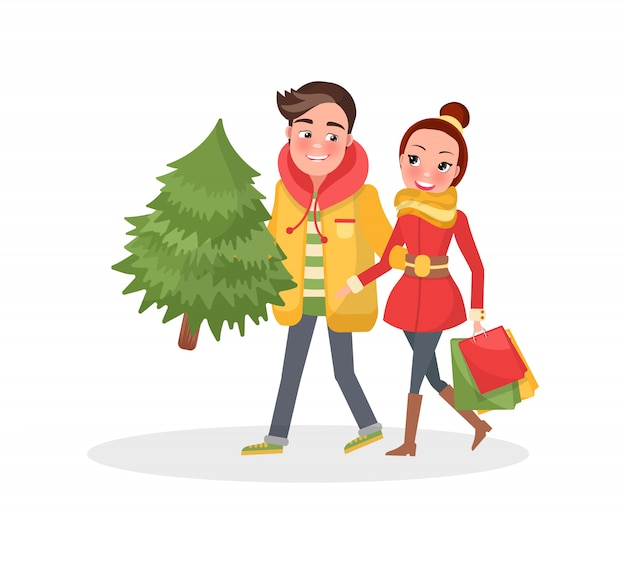 Merry couple returns from shopping, christmas tree