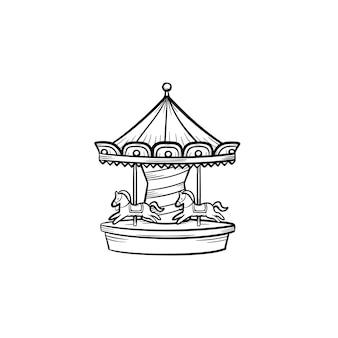 メリーゴーランドカルーセル手描きのアウトライン落書きアイコン。遊園地、カーニバル、白い背景で隔離の印刷物、ウェブ、モバイル、インフォグラフィックの公正なベクトルスケッチイラストの概念。