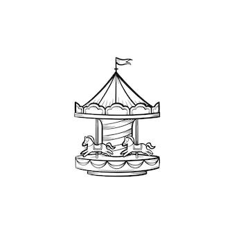 Карусель рисованной наброски каракули значок. карусель векторные иллюстрации эскиз для печати, интернета и инфографики, изолированные на белом фоне. развлечения и деятельность для ребенка на игровой площадке концепции.