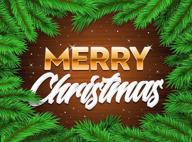 Merry happy christmas banner tree branches xmas background
