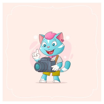 Merry kitty with camera. vector illustration from a series funny pets