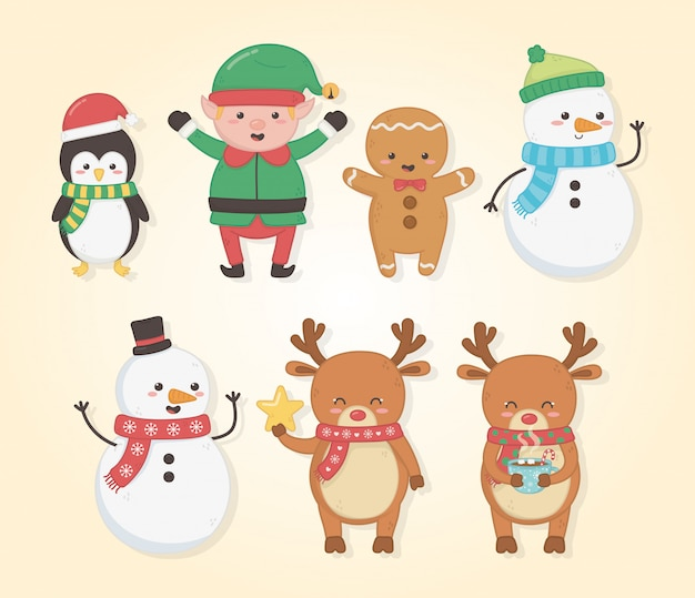 Merry merry christmas card with group of characters