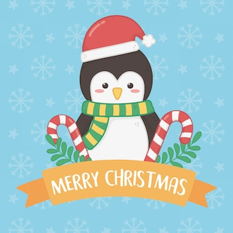 Merry merry christmas card with penguin