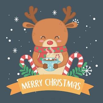 トナカイとメリーメリークリスマスカード