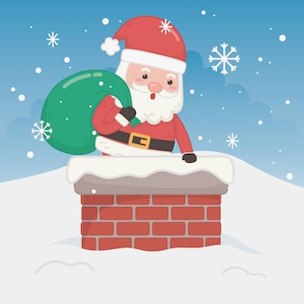 Merry merry christmas card with santa claus in chimney