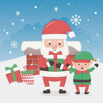 Merry merry christmas card with santa claus and elf