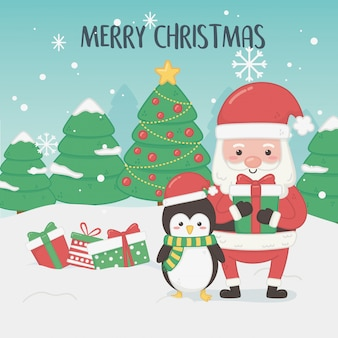 Merry merry christmas card with santa claus and penguin