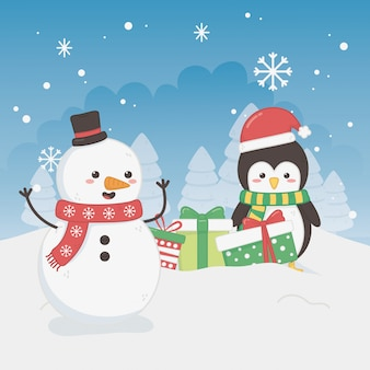 Merry merry christmas card with snowman and penguin