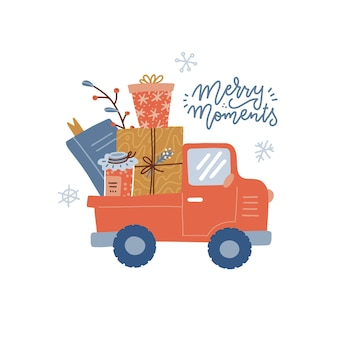 Merry moments  stylized linear typography vintage red car pickup with gift boxes jan and book isolat...