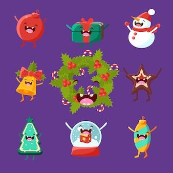 Счастливого нового года и рождества предметы с милыми лицами