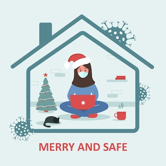 Merry and safe holidays. arab woman in santa hat with laptop sitting home and celebrating christmas. quarantine or self-isolation. fears of getting coronavirus. trendy flat illustration.