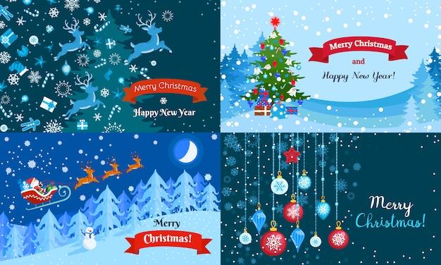Merry winter christmas banner set.