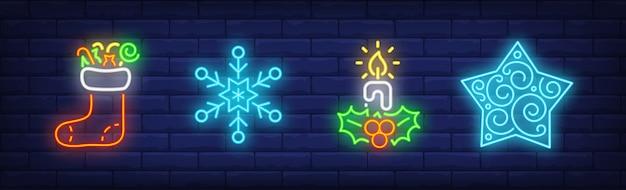 Collezione merry xmas in stile neon