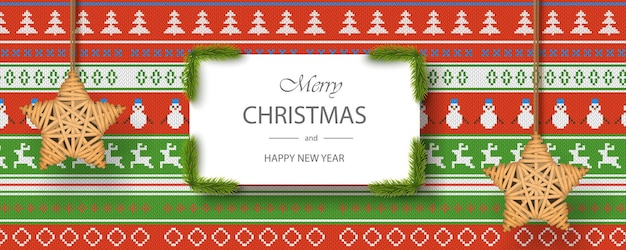 Merry xmas and happy new year card template, realistic design on christmas fabric