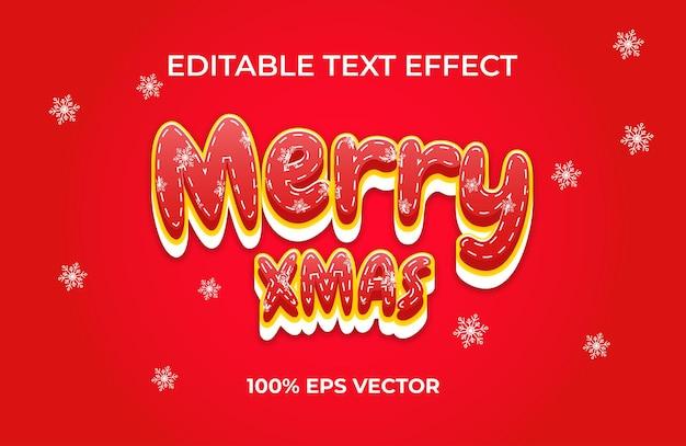 Рождественский текстовый эффект premium векторы