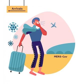 Mers-cov中東呼吸器症候群コロナウイルス、新規コロナウイルス2019-ncovハンカチで鼻をかむ男。旅行バッグを持った男性キャラクターが到着ゾーンの方向から移動する