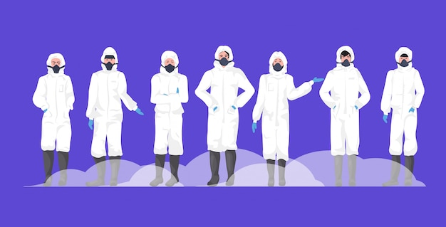 流行のmers-cov武漢コロナウイルス2019-ncovのパンデミック医療健康リスク完全な長さの水平を防ぐための防護服と保護マスクの人々のグループ