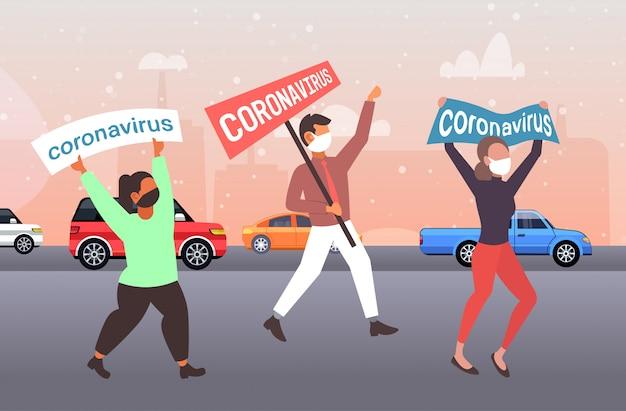 流行のmers-covバナーを保持している保護マスクの人々停止コロナウイルス感染防止の概念武漢2019-ncovのパンデミックの健康リスク都市通り全長水平