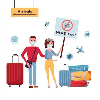 Mers-cov ближневосточный респираторный синдром коронавирус, новый коронавирус 2019-нков. туристическая пара из китая с медицинской маской для лица, дорожная сумка движется с баннером в направлении прибытия