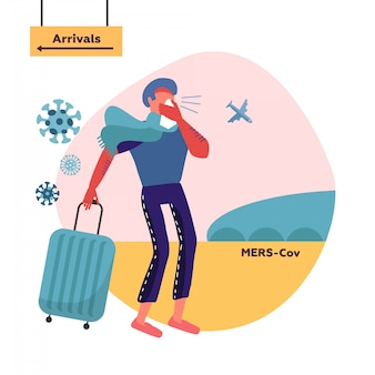 Mers-cov middle east respiratory syndrome coronavirus , novel coronavirus 2019-ncov . man blowing nose in a handkerchief. male character with travel bag moves from direction of arrivals zone