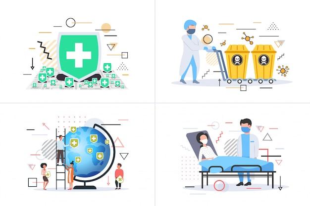 Набор эпидемия mers-cov профилактика коронавирусная инфекция wuhan 2019-ncov пандемия риск для здоровья медицина коллекция концепций здравоохранения горизонтальный