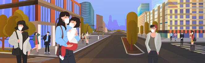 Азиатские люди в защитных масках для предотвращения эпидемии mers-cov wuhan coronavirus 2019-ncov пандемия медицинский риск для здоровья мужчины женщины ходьба город улица горизонтальный городской пейзаж