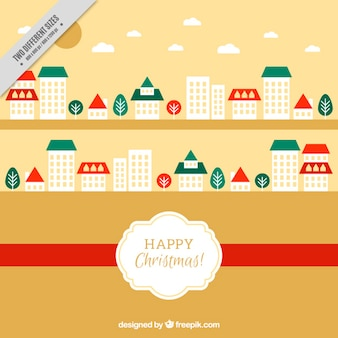 Mery christmas background of buildings in flat design
