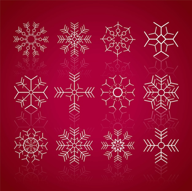 Mery christmas background with snowflakes set design
