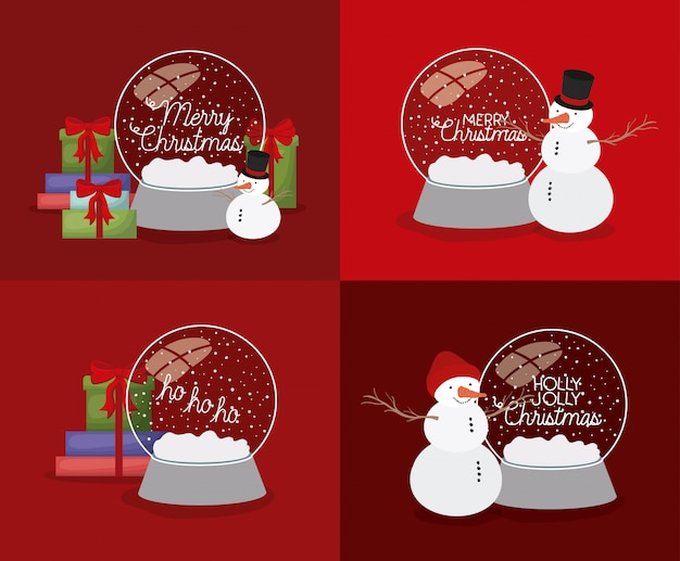 Mery christmas card with snowman and set spheres