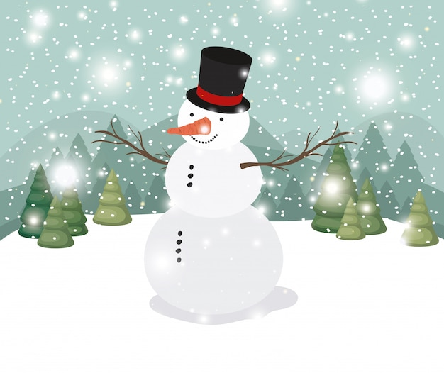 Mery christmas card with snowman in snowscape
