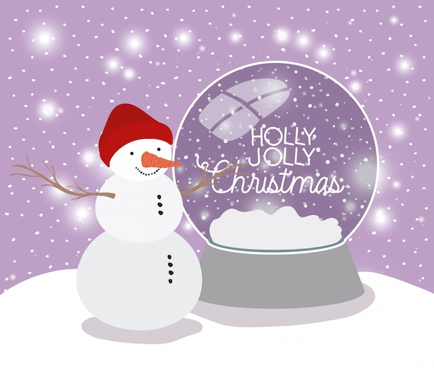 Mery christmas card with snowman and sphere