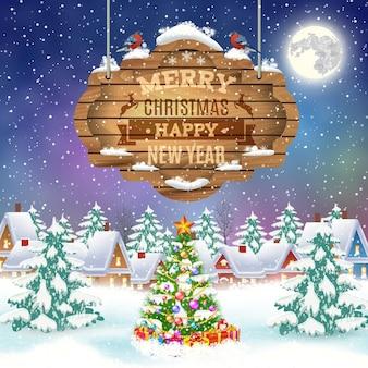 冬の村のメリークリスマスと新年あけましておめでとうございますヴィンテージグリーティングカード。クリスマスの看板と冬の風景。ベクトルイラスト。挨拶や郵便カードの概念