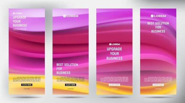 Вертикальный шаблон дизайна бизнес-баннера mesh color flow