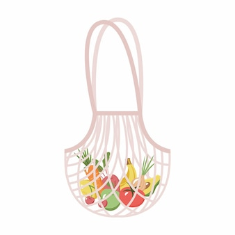 Mesh or net bag with fruits and vegetables isolated on white background modern shopper with fresh organic bananas apples tomatoes carrots cherries and lemons from local market