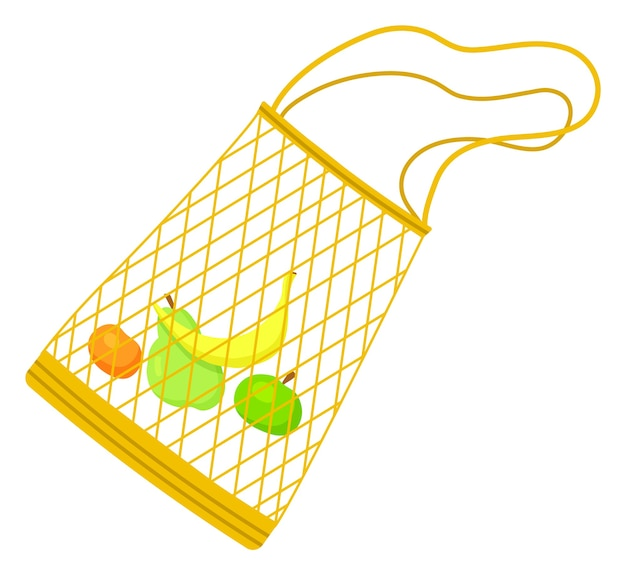 Mesh net eco bag with banana, apple, pear, orange inside