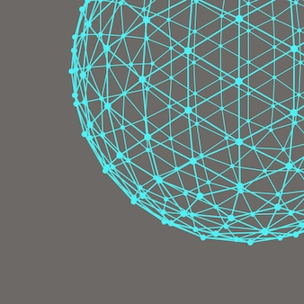 Сетка многоугольной фон. размах линий и точек. шар из линий, соединенных с точками. молекулярная решетка. структурная сетка полигонов.