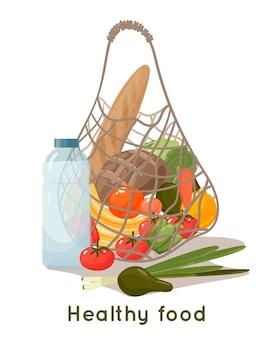 야채와 과일 흰색 배경에 고립 된 메쉬 쇼핑백. 재사용 가능한 에코 백의 만화 그림, 신선한 음식, 과일, 야채 및 허브와 함께 메쉬 가방