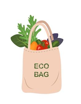 Сетка с овощами. здоровая еда в сумке. покупки органических продуктов. скажи пластику нет. безотходное потребление и сохранение окружающей среды.