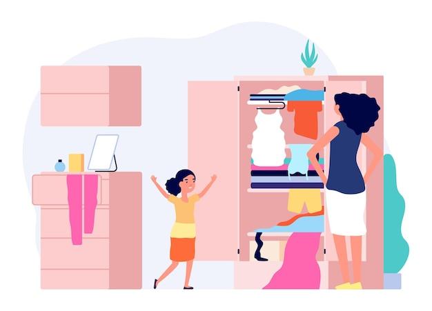 아이 방에 엉망. 행복한 소녀 진지한 엄마. 옷, 여자와 딸이 옷을 측정하는 옷장. 가족과의 자유 시간, 격리 기간 벡터. 옷 일러스트와 함께 엄마와 딸