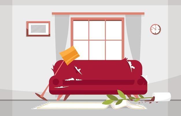 リビングルームのセミイラストを混乱させます。大きな窓のある明るいお部屋です。ぼろぼろのソファ。落ちた花瓶、花、しわくちゃのカーペット。商業使用のための壊れた床ランプの漫画シーン