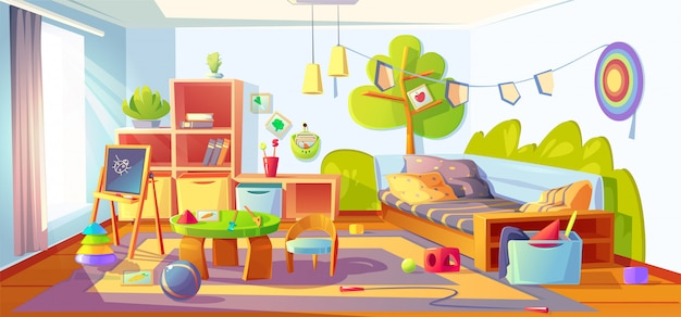 Mess in kids room, messy child bedroom interior