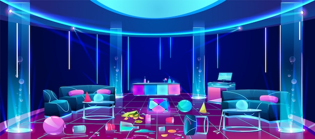 Mess in nightclub after party illustration