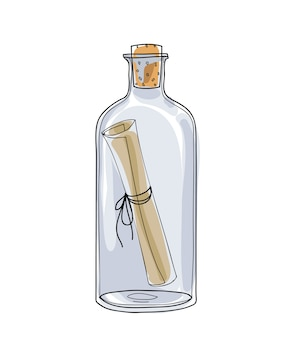 Message in a bottle hand drawn vector