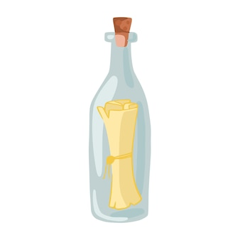 Message in a bottle isolated on white background. a treasure map in a bottle icon. cartoon style. vector illustration