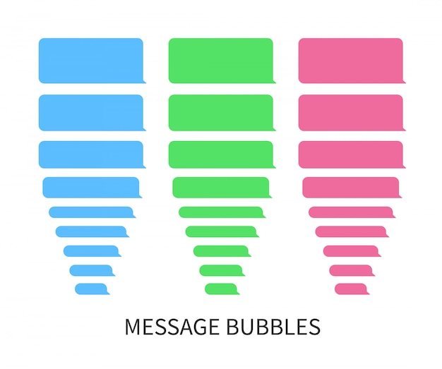 Message bubbles design template for messenger chat or website. flat concept design element for web and apps.